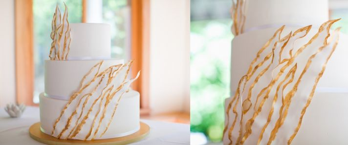 Ethereal Gold and White Wedding Cake