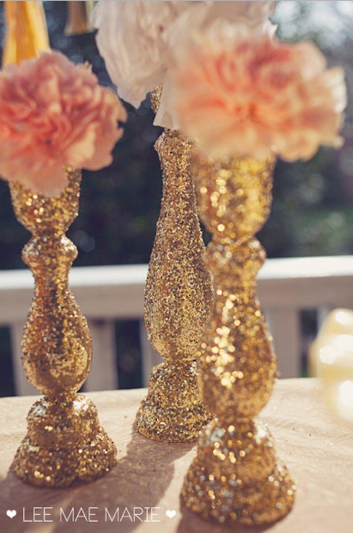 Glittery Modern Candlestick Centerpieces