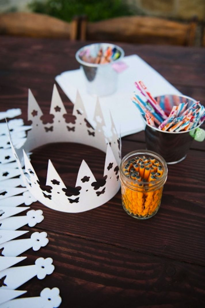 Crown and Coloring for the Kids at wedding