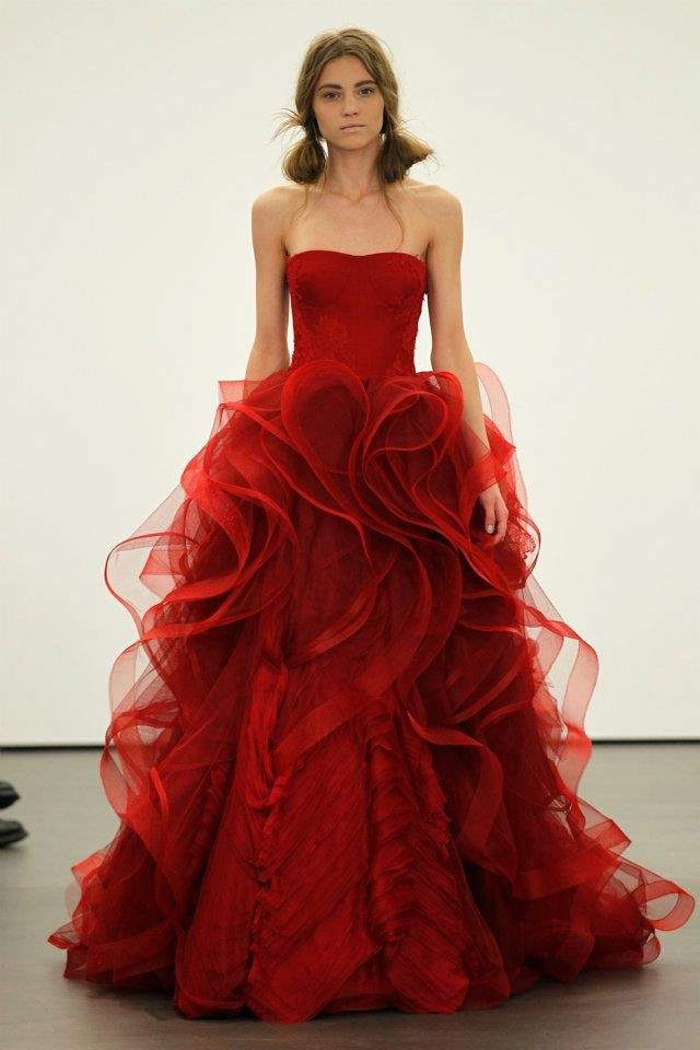 e00c87b9472f3 Vera Wang Sees Red For Spring 2013 Brides Onewed