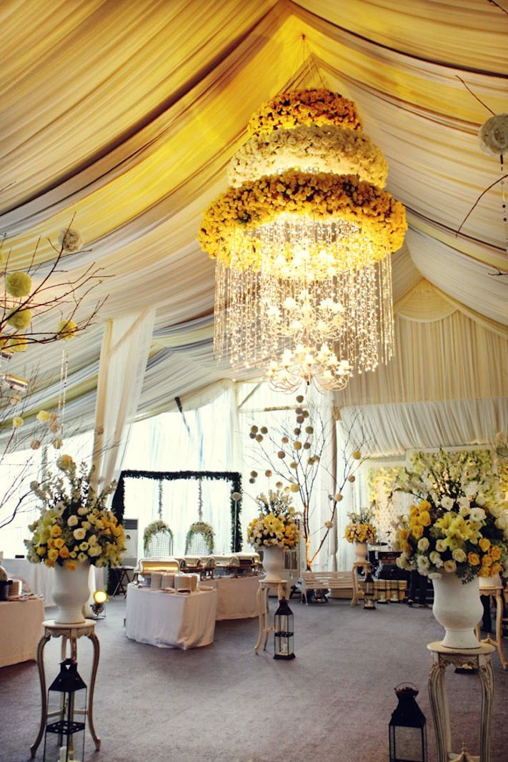 Romantic Wedding Ideas We Love Floral Chandeliers For The Reception Onewed