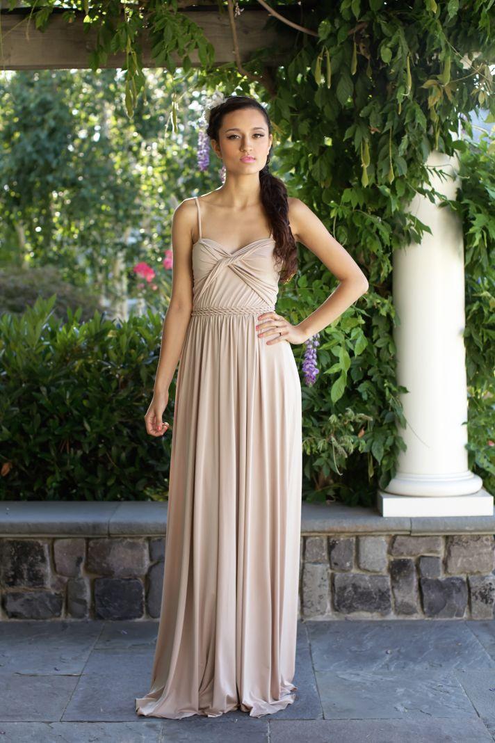 Neutral bridesmaids dress