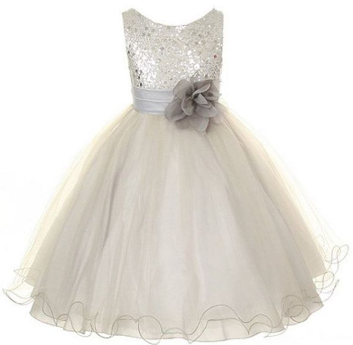 Silver Tulle with Sparkle Top Flower Girl Dress