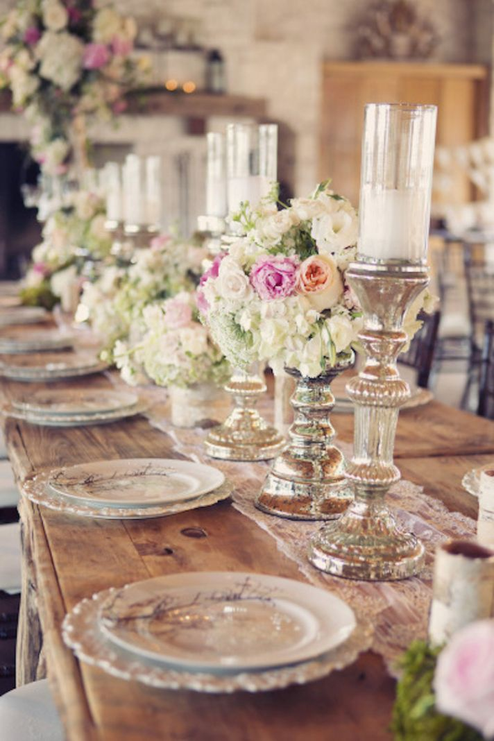 Dreamy Centerpieces of Florals and Candles on Mercury Stands