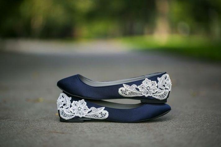 Blue Wedding Lace Flats