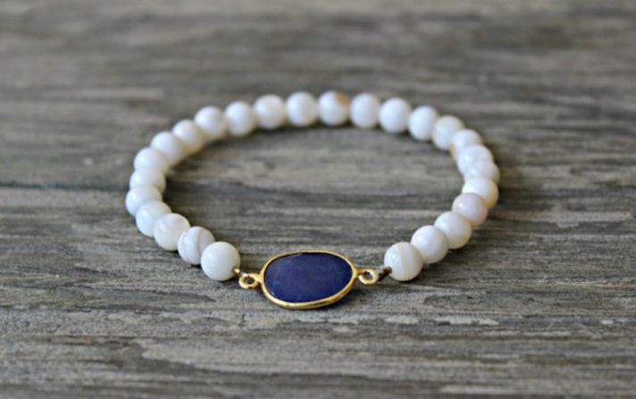 Sapphire and Bone Beaded Bracelet