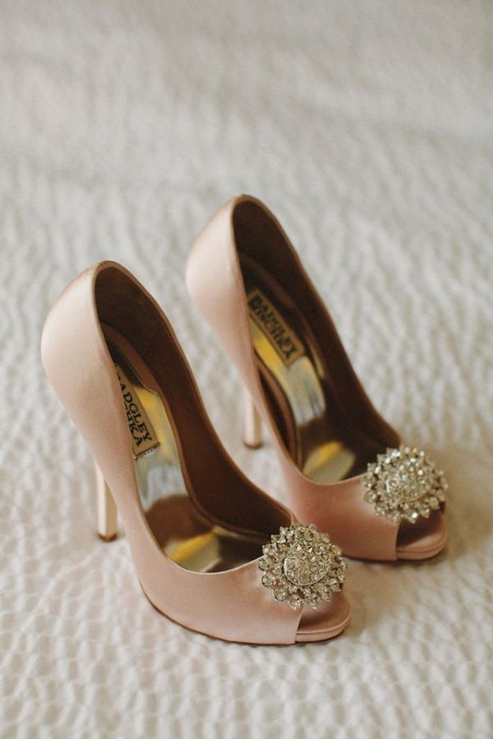 Blush Wedding Shoes with Bling