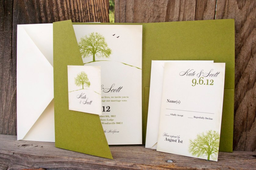 Eco Friendly Wedding Finds Recycled On Etsy Green Ivory Invitations