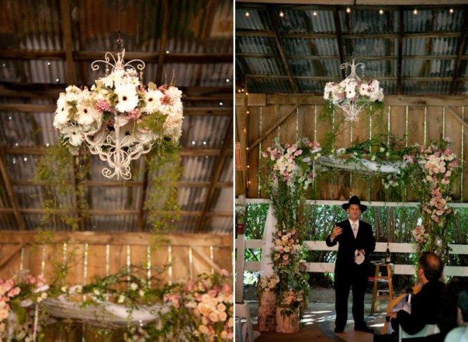Rustic Barn Wedding Fl Chandelier