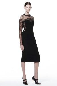 Black Velvet Bridesmaid Dress with Sheer Sleeves | OneWed.com