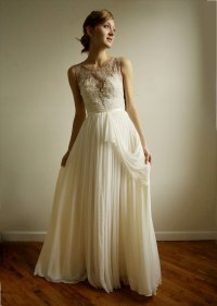 Vintage inspired wedding dress with sheer lace neckline ...