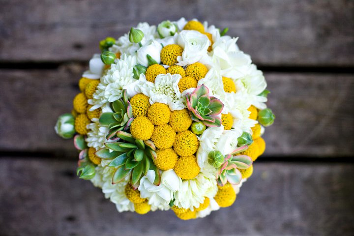 Yellow White Green Bridal Bouquet With Billy Balls