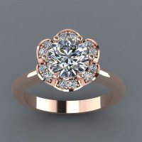 Rose Gold Engagement Ring with Moissanite stones | OneWed.com