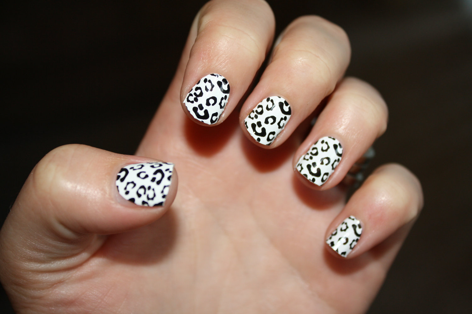 white and black wedding nail art