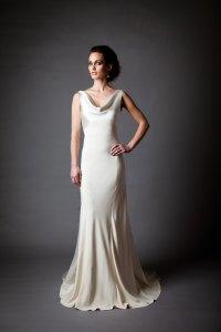 Silk Charmeuse Open Back Wedding Dress | OneWed.com