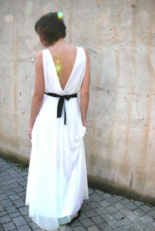 Simple draped white wedding dress with black sash onewed com