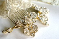 gold and crystal vintage inspired wedding hair comb ...
