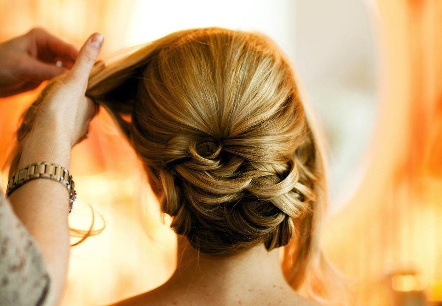 Sleek wedding hairstyle low updo  OneWedcom