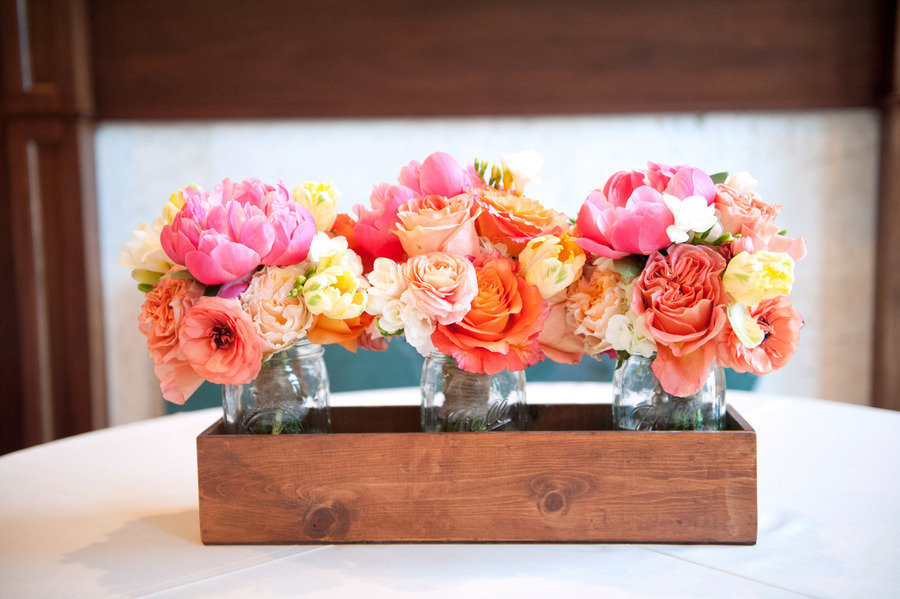 Coral Pink And Yellow Wedding Bouquets