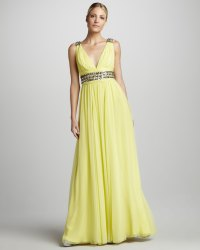 Yellow v neck bridesmaid dress | OneWed.com