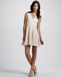 Cream crochet lace bridesmaid dress | OneWed.com