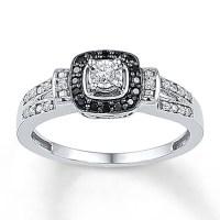 Kay Jewelers Diamond Promise Ring 1/5 ct tw Black/White ...