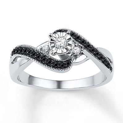 Kay Jewelers Diamond Promise Ring 1/4 ct tw Black/White