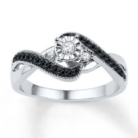Kay Jewelers Diamond Promise Ring 1/4 ct tw Black/White