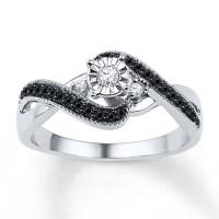 Kay Jewelers Diamond Promise Ring 1/4 ct tw Black/White ...