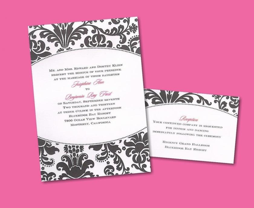 Black And White Damask With A Pop Of Hot Pink Is Perfect For An Edgy Chic Wedding
