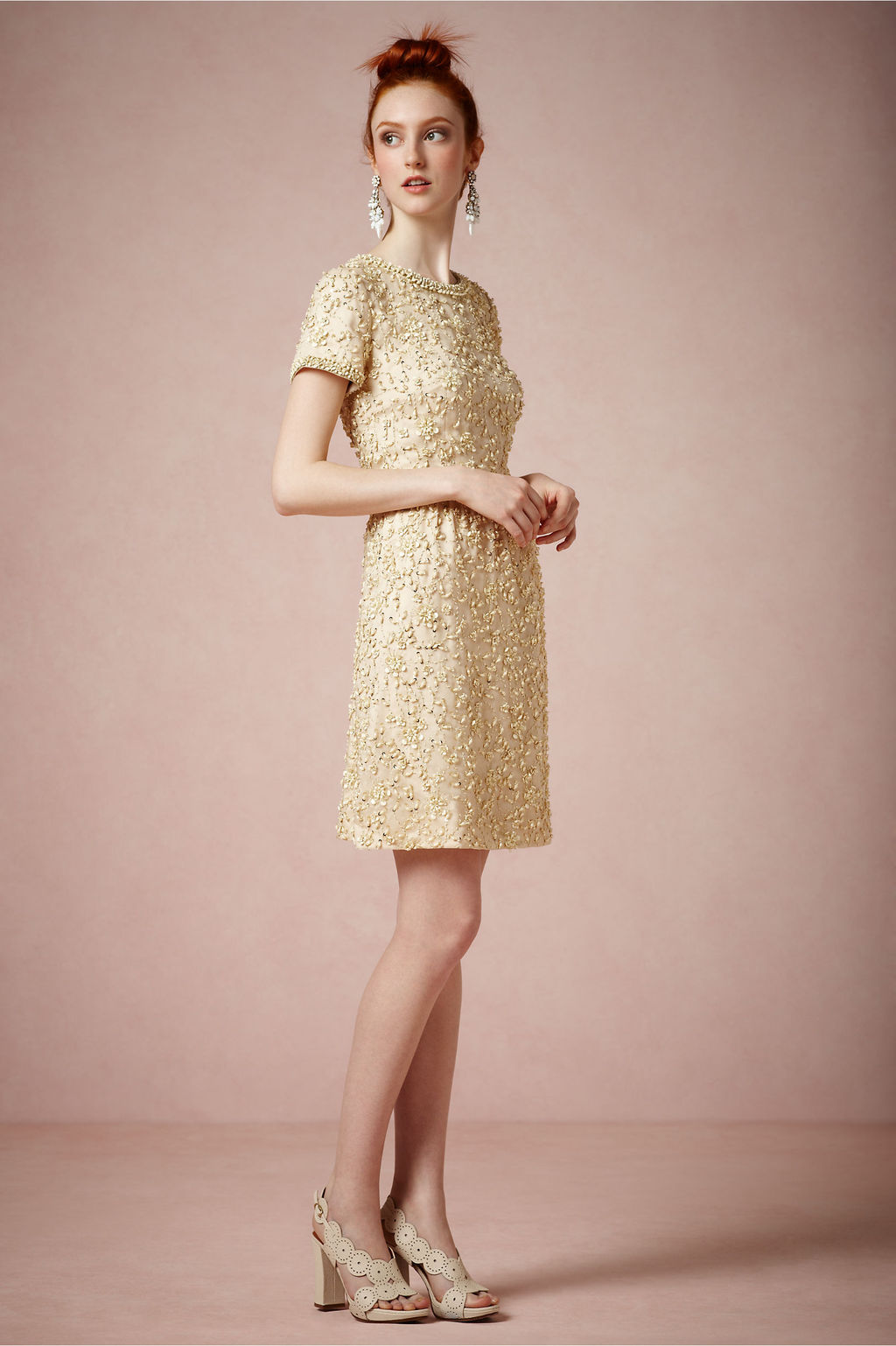 Gold vintage inspired short wedding guest dress by BHLDN