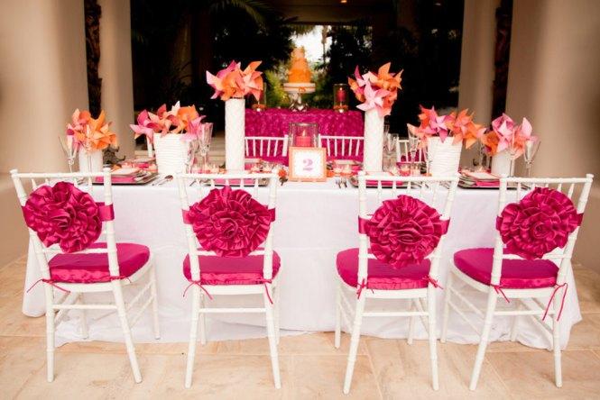 Pink Yellow Blue Orange Wedding Reception Bridesmaid