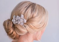 rhinestone double flower wedding hair clip