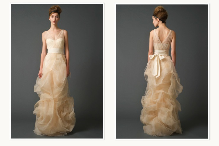 Creamy Peach Vera Wang Bridal Gown For Nordstrom Wedding