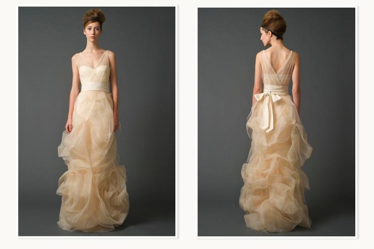 Creamy Peach Vera Wang Bridal Gown For Nordstrom Wedding