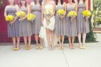 real fall wedding september grey bridesmaids dresses ...