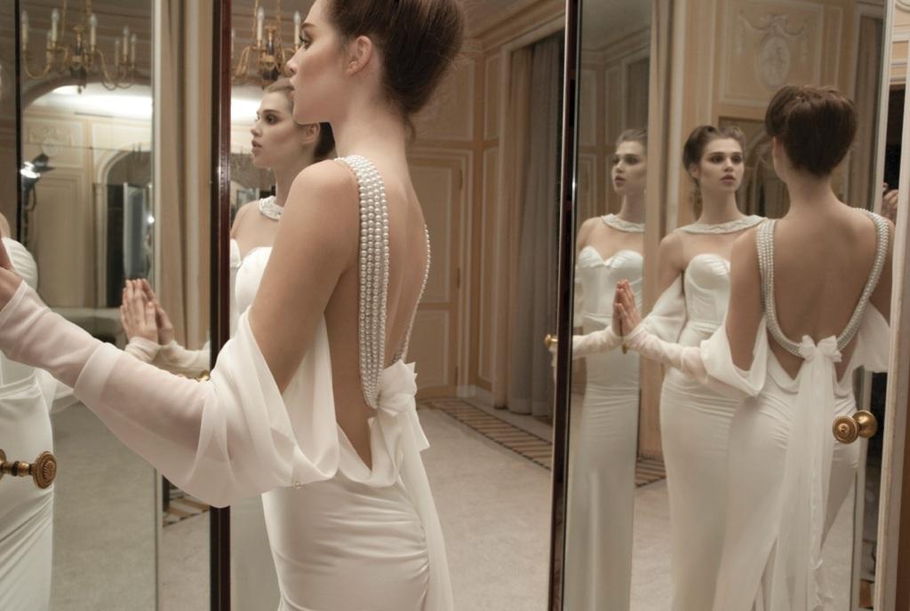 Pearl draped back wedding dress 2013 brides onewed com