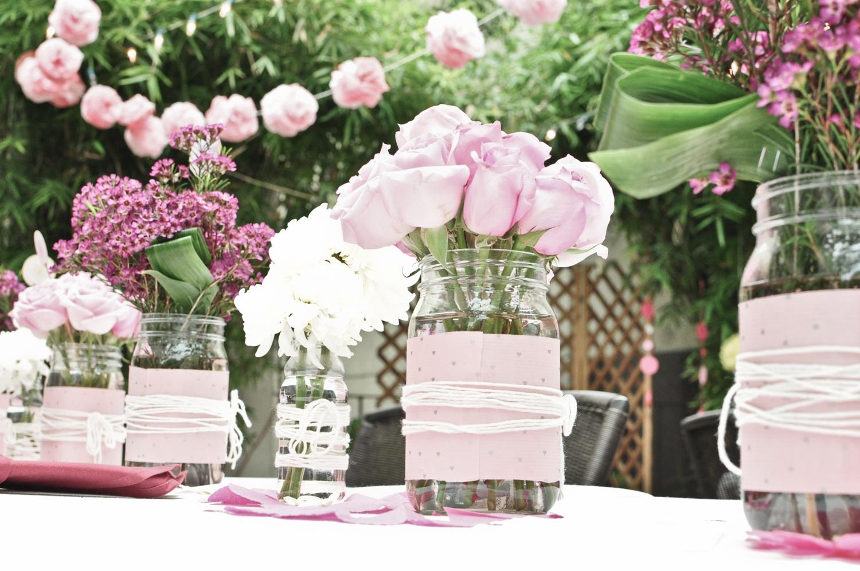 romantic wedding centerpieces mason jars  OneWedcom