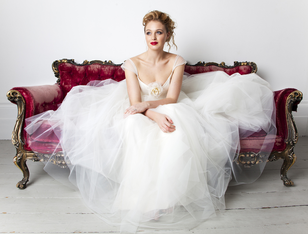 Tulle Ball Gown Wedding Dress With Sheer Cap Sleeves