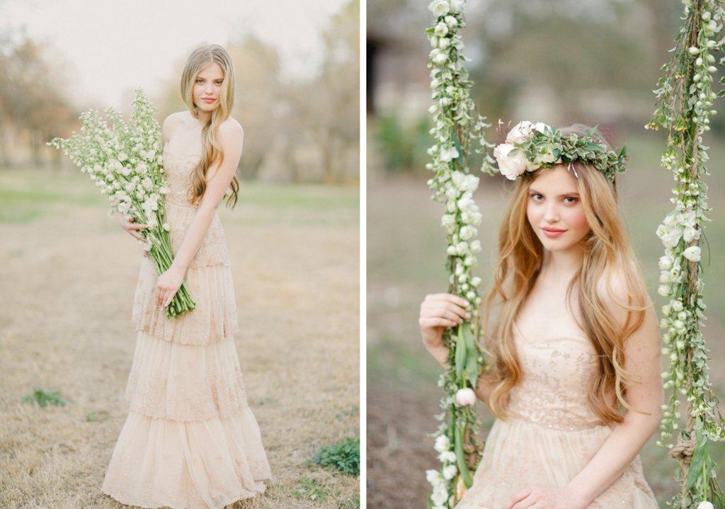 Beige Lace BHLDN Wedding Dress Or Bridesmaid Gown