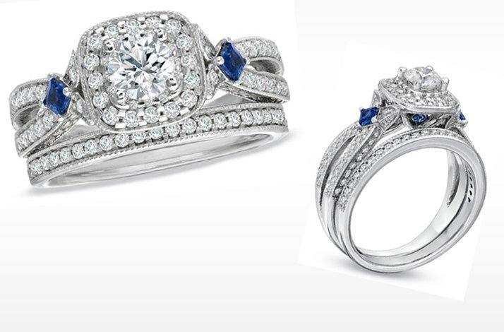 Vera Wang LOVE Engagement Ring Diamond And Sapphire
