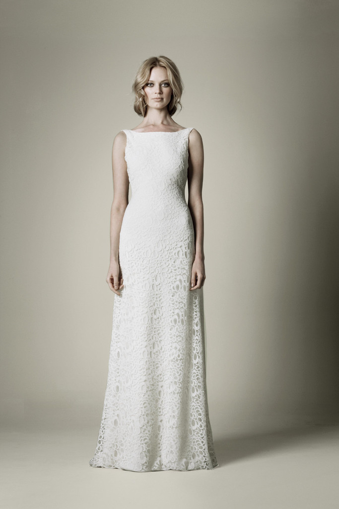 1960s wedding dress with lace over crepe  OneWedcom