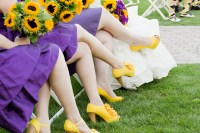 bright yellow bridesmaid shoes with purple dresses ...