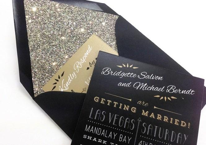 Wedding Paper Divas Foil Stamped Invitation Cards Black White Gold Typography