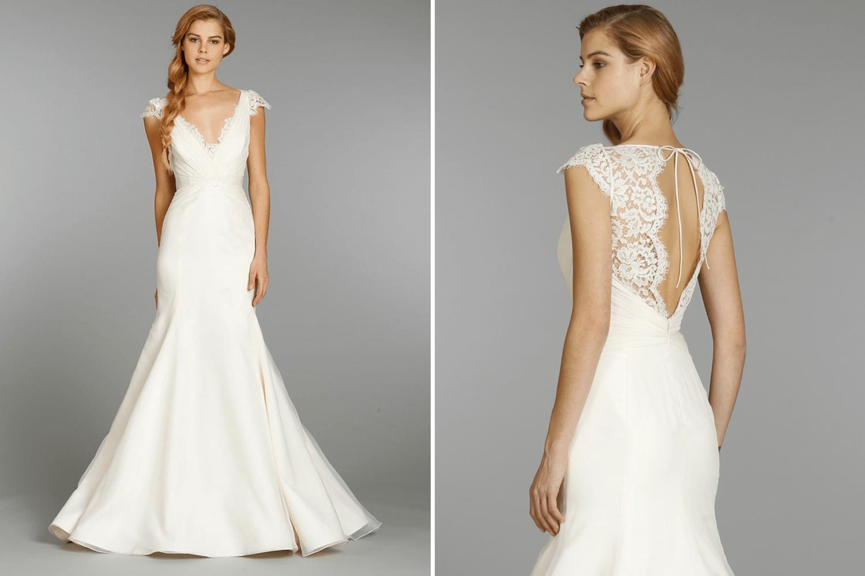 Jim Hjelm Blush Wedding Dress With Lace Cap Sleeves