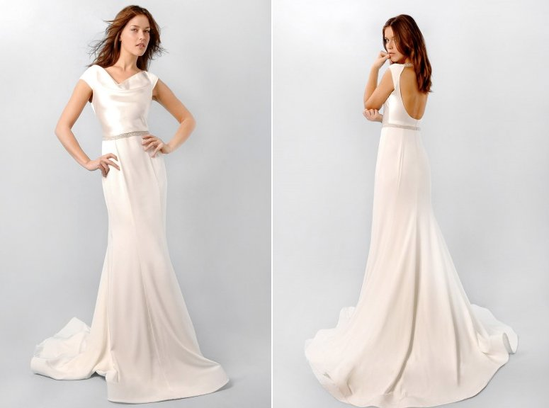 Ivory Silk Wedding Dress With Cowl Neck, Inspired By Pippa