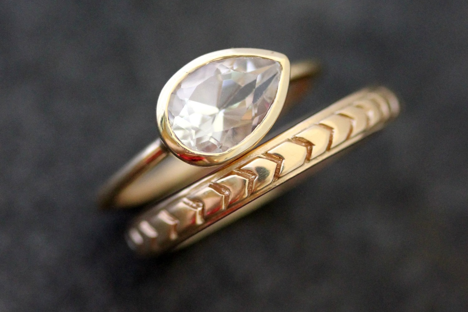 recycled gold chevron wedding band and alternative
