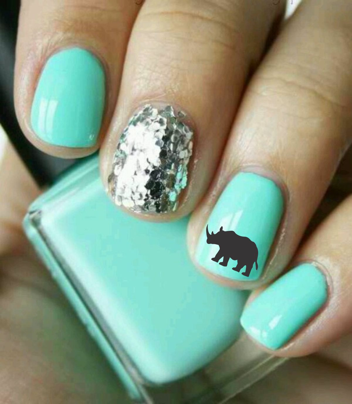 turquoise wedding nails with silver