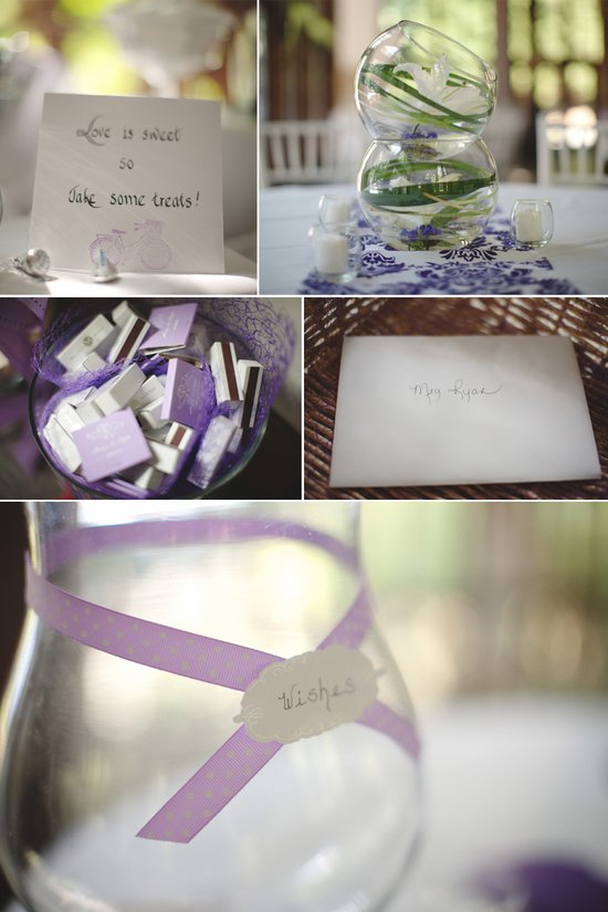 elegant ivory lilac wedding reception centerpieces place