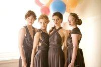 Rich smoky brown convertible bridesmaid dresses | OneWed.com